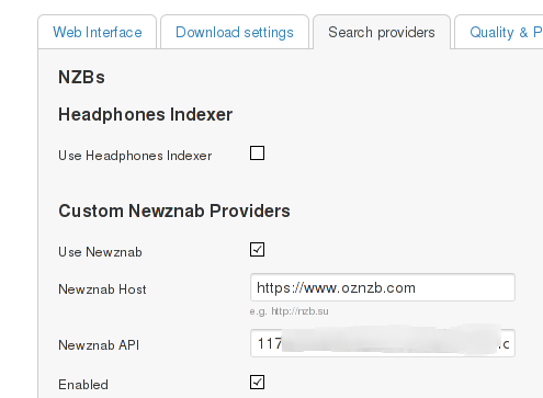 Integrating SABnzbd with Freenas, Couchpotato, Sickbeard and Headphones